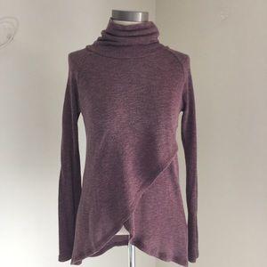 Bobeau Turtleneck Sweater Faux Wrap Front